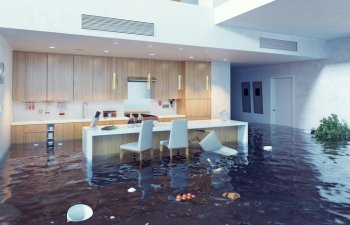 open floor plan flooded because of plumbing issue