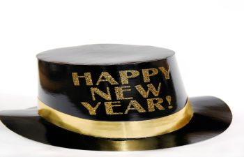 black hat with gold sign that reads Happy New Year!